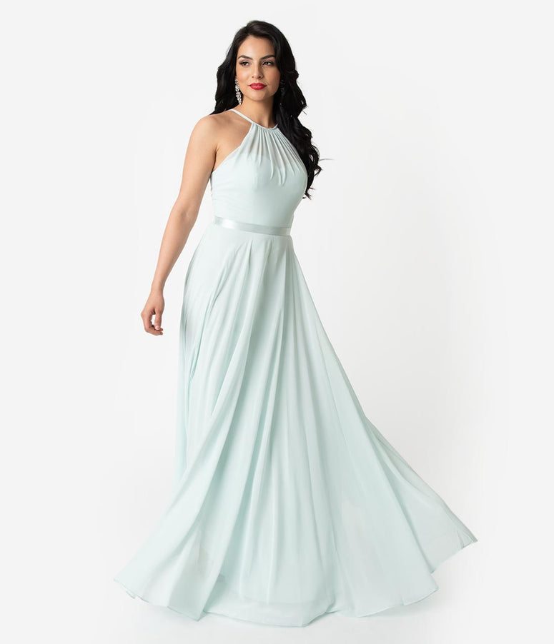 Soft Mint Chiffon Halter Sleeveless Long Gown