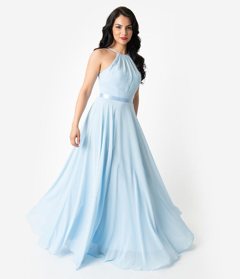 4b49705f54 Ice Blue Chiffon Halter Sleeveless Long Gown