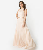 Champagne Chiffon Halter Sleeveless Long Gown