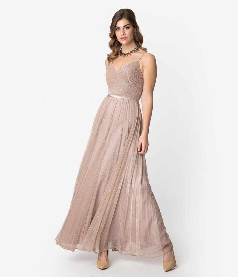 Dusty Rose Sparkle Pleated Mesh Long Dress