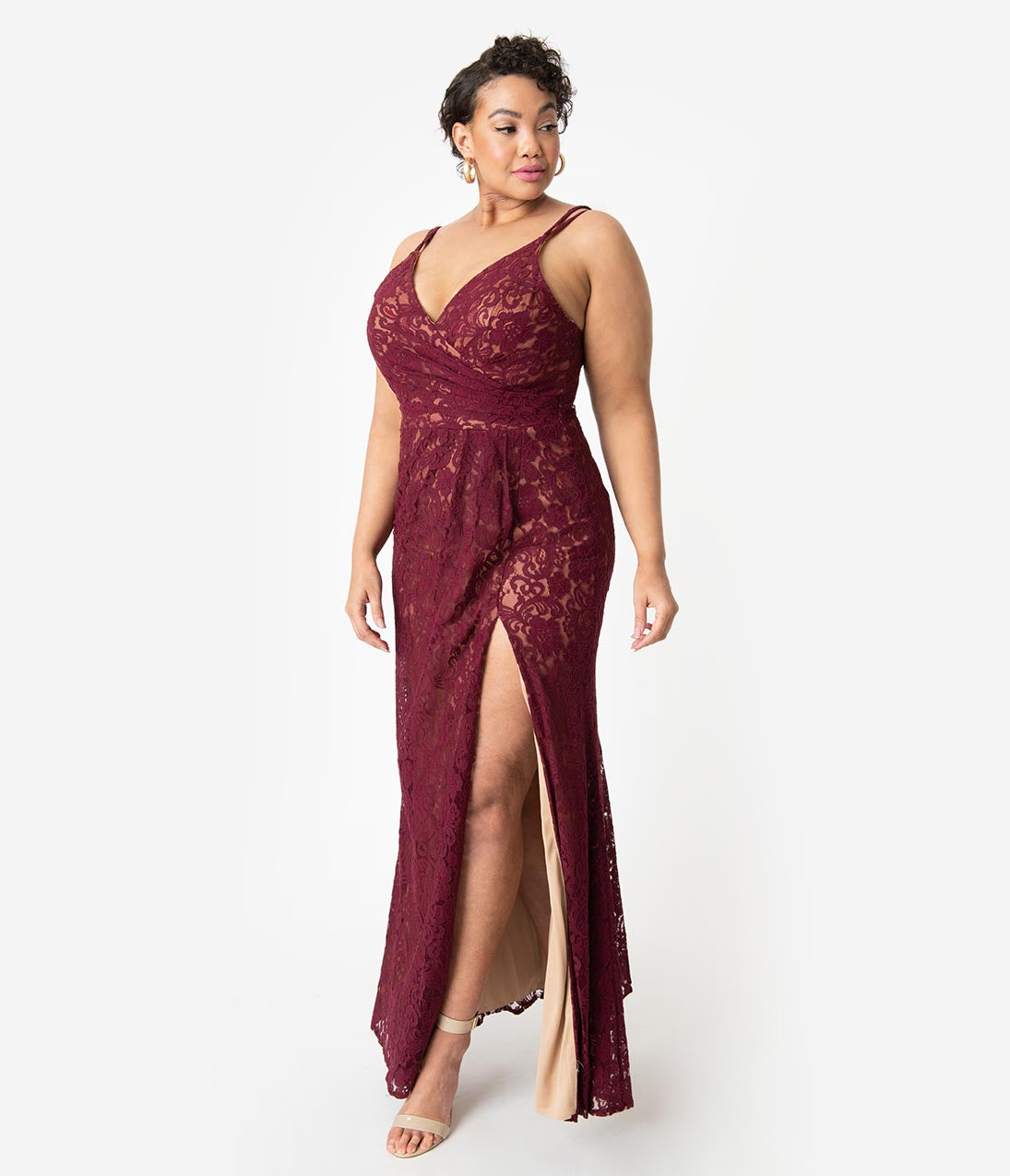 Art Deco Dresses | Art Deco Fashion, Clothing Burgundy Lace Sexy Sleeveless Side Slit Long Dress $130.00 AT vintagedancer.com