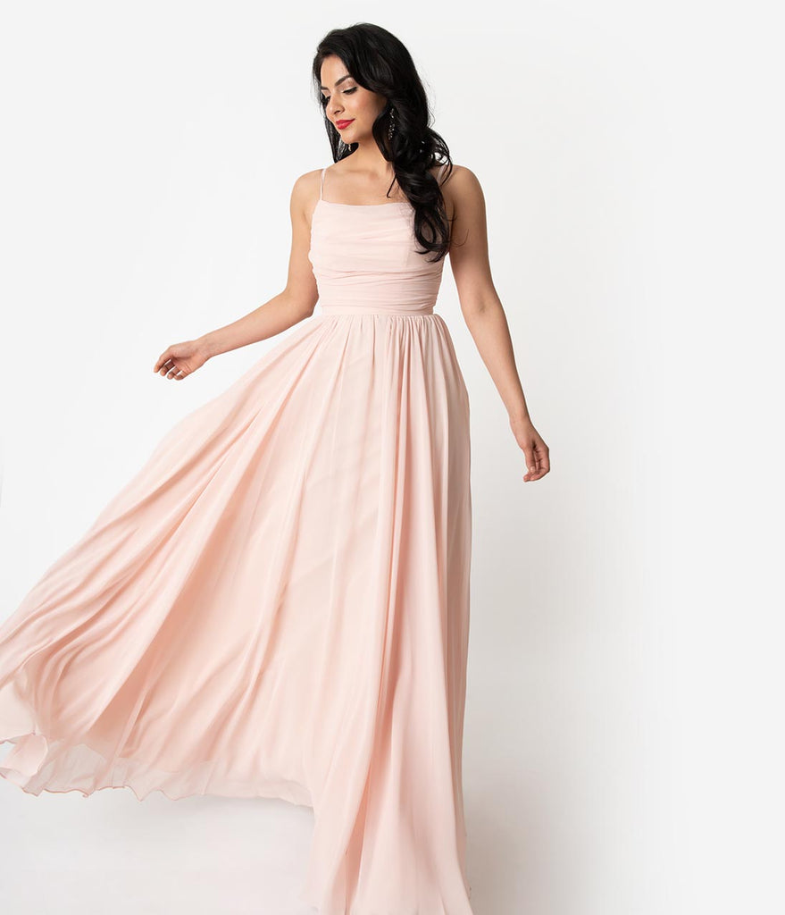 Peach Pink Chiffon Gathered Sleeveless Long Dress