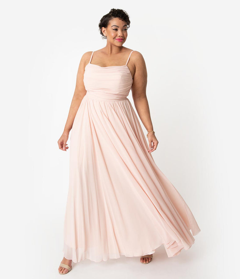 2b8ea20cf82c6 Plus Size Peach Pink Chiffon Gathered Sleeveless Long Dress