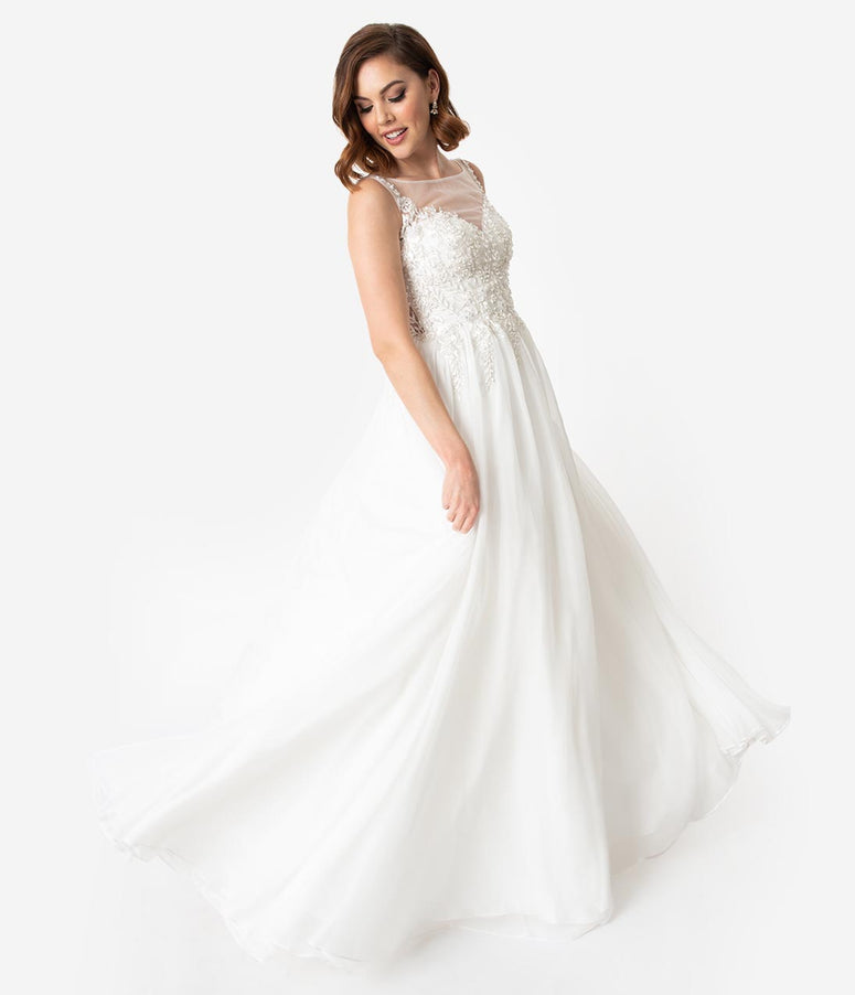 2c3e1d60e6 White Embellished Sleeveless Illusion Neckline Wedding Gown