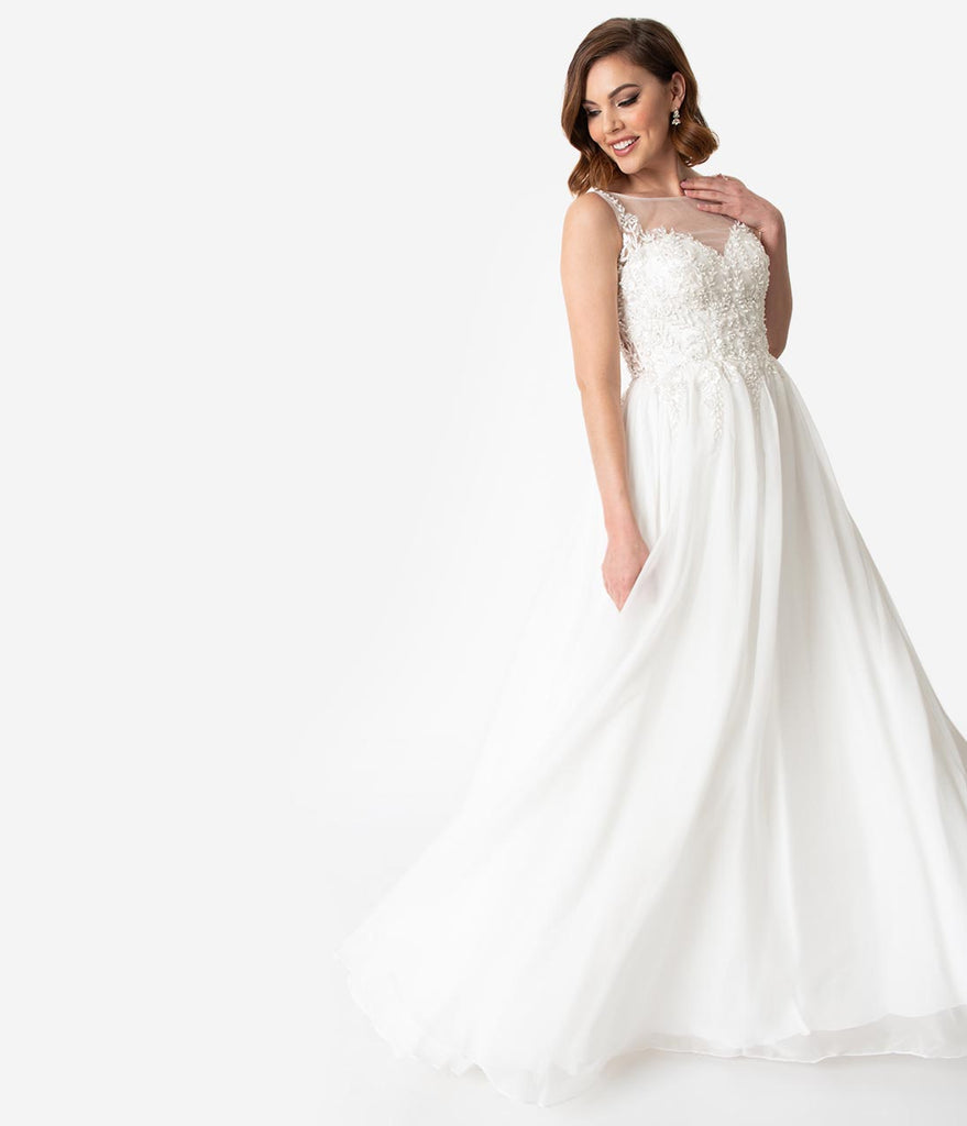 White Embellished Sleeveless Illusion Neckline Wedding Gown