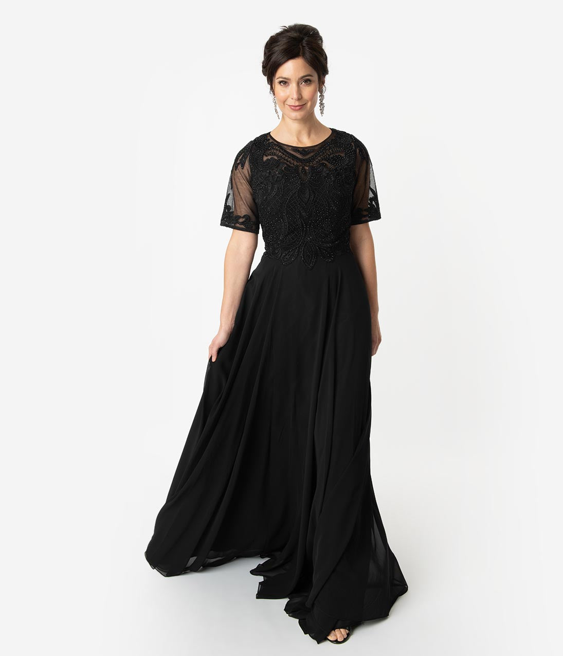 1920s Downton Abbey Dresses Black Chiffon Embellished Short Sleeve Modest Long Dress $168.00 AT vintagedancer.com