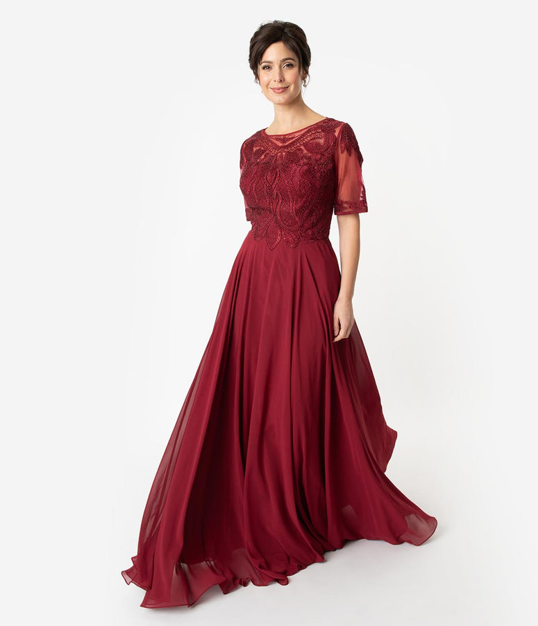 Burgundy Red Chiffon Embellished Short Sleeve Modest Long Dress