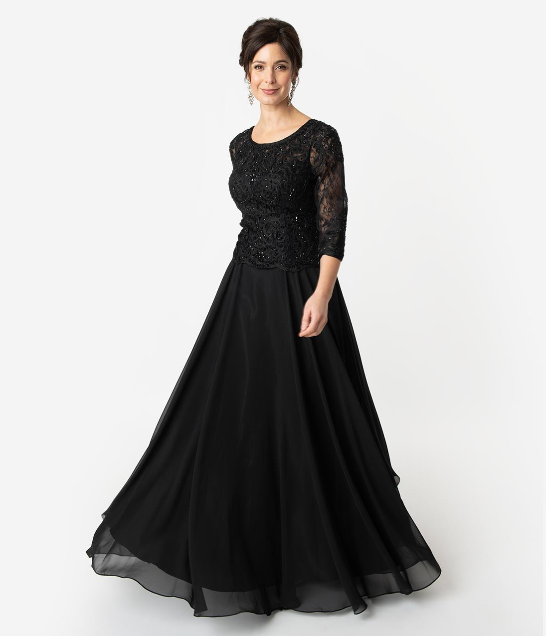 1940s Formal Dresses, Evening Gowns History Black Embellished Lace Sleeved Chiffon Long Dress $174.00 AT vintagedancer.com