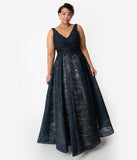 Navy Blue Lace Embellished Sleeveless Long Gown