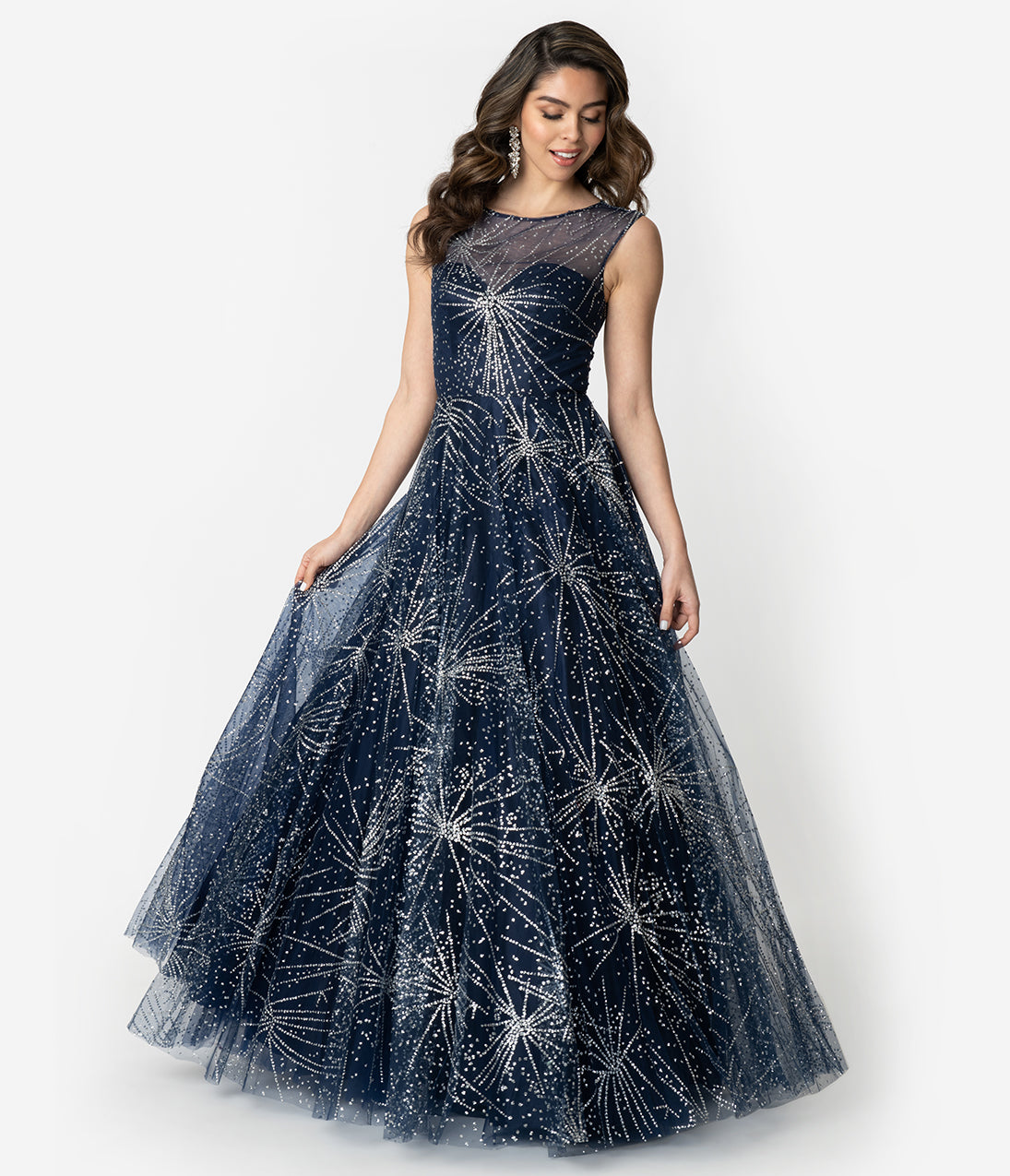 Vintage Evening Dresses and Formal Evening Gowns Navy  Silver Glitter Starburst Sleeveless Ball Gown $220.00 AT vintagedancer.com