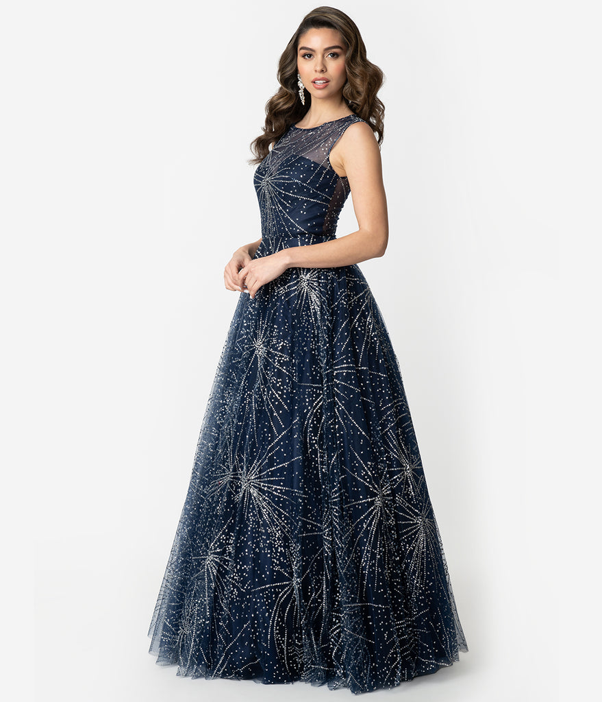 Navy & Silver Glitter Starburst Sleeveless Ball Gown