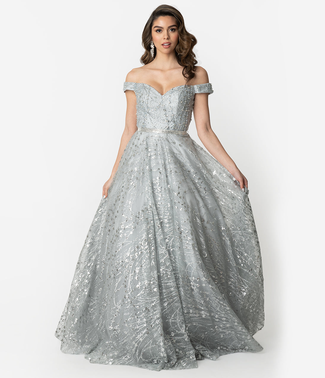 What Did Women Wear in the 1950s? 1950s Fashion Guide Silver Sparkle Embellished Off The Shoulder Ball Gown $220.00 AT vintagedancer.com