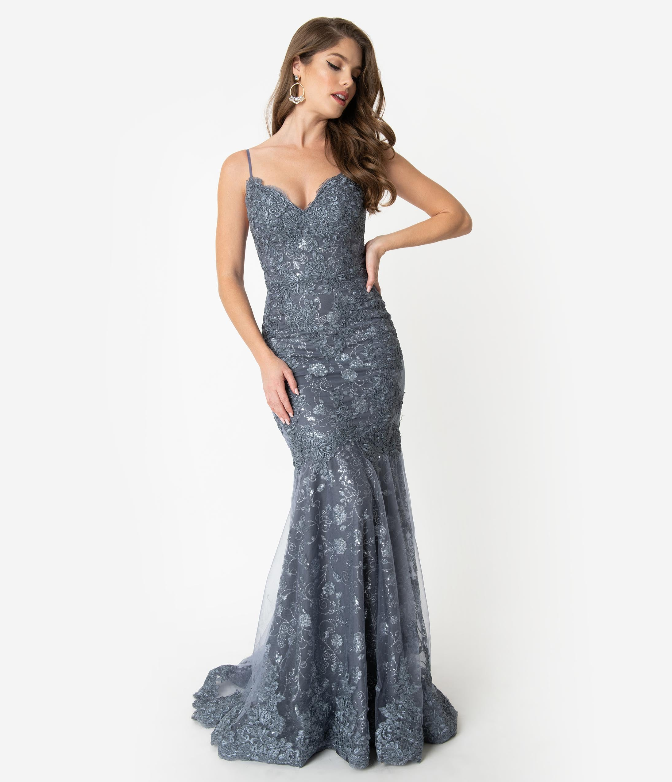 1930s Evening Dresses | Old Hollywood Dress Smokey Blue Sparkling Sequin Lace Fitted Gown $268.00 AT vintagedancer.com