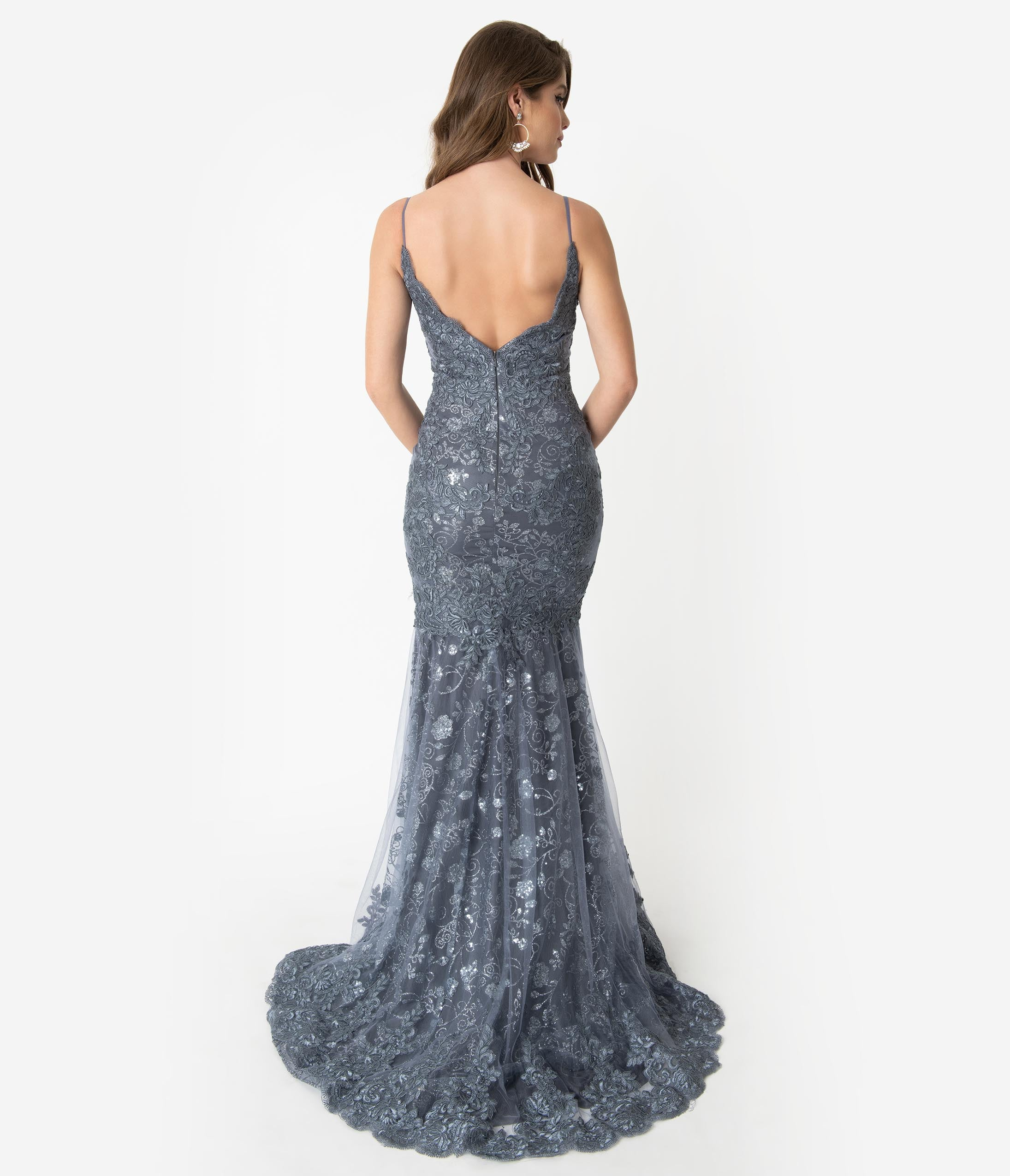 1640c9dbc1 Hunter Green Sequin Lace Sexy Mermaid Gown – Unique Vintage