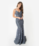 Smokey Blue Sparkling Sequin Lace Fitted Gown