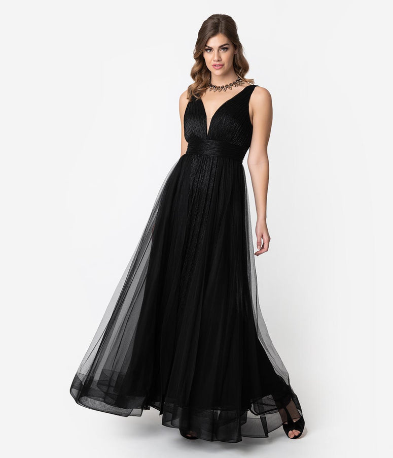 5c7d1219c68 Black Sparkle Pleated Mesh Sleeveless Long Dress
