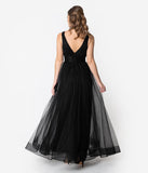 Black Sparkle Pleated Mesh Sleeveless Long Dress