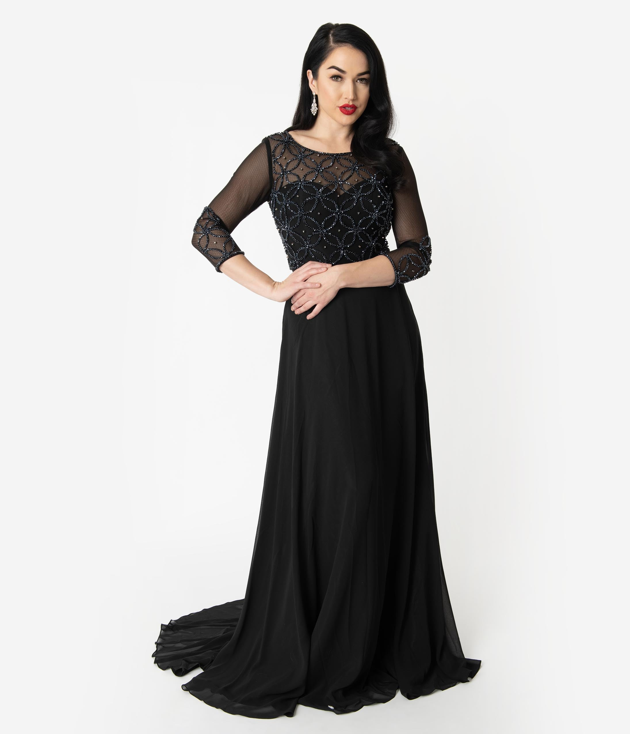 1930s Dresses | 30s Art Deco Dress Black Illusion Neckline Sparkle Sleeved Chiffon Long Dress $110.00 AT vintagedancer.com