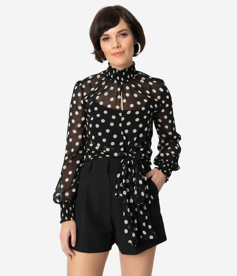 Black & Ivory Polka Dot Sheer Long Sleeve High Neck Blouse