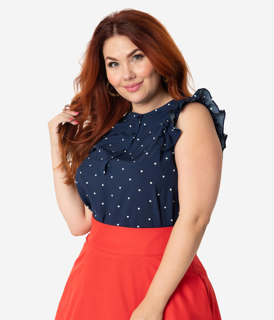 e56338dd4c4 Plus Size Vintage Style Navy   White Polka Dot Ruffle Sleeveless Blous –  Unique Vintage
