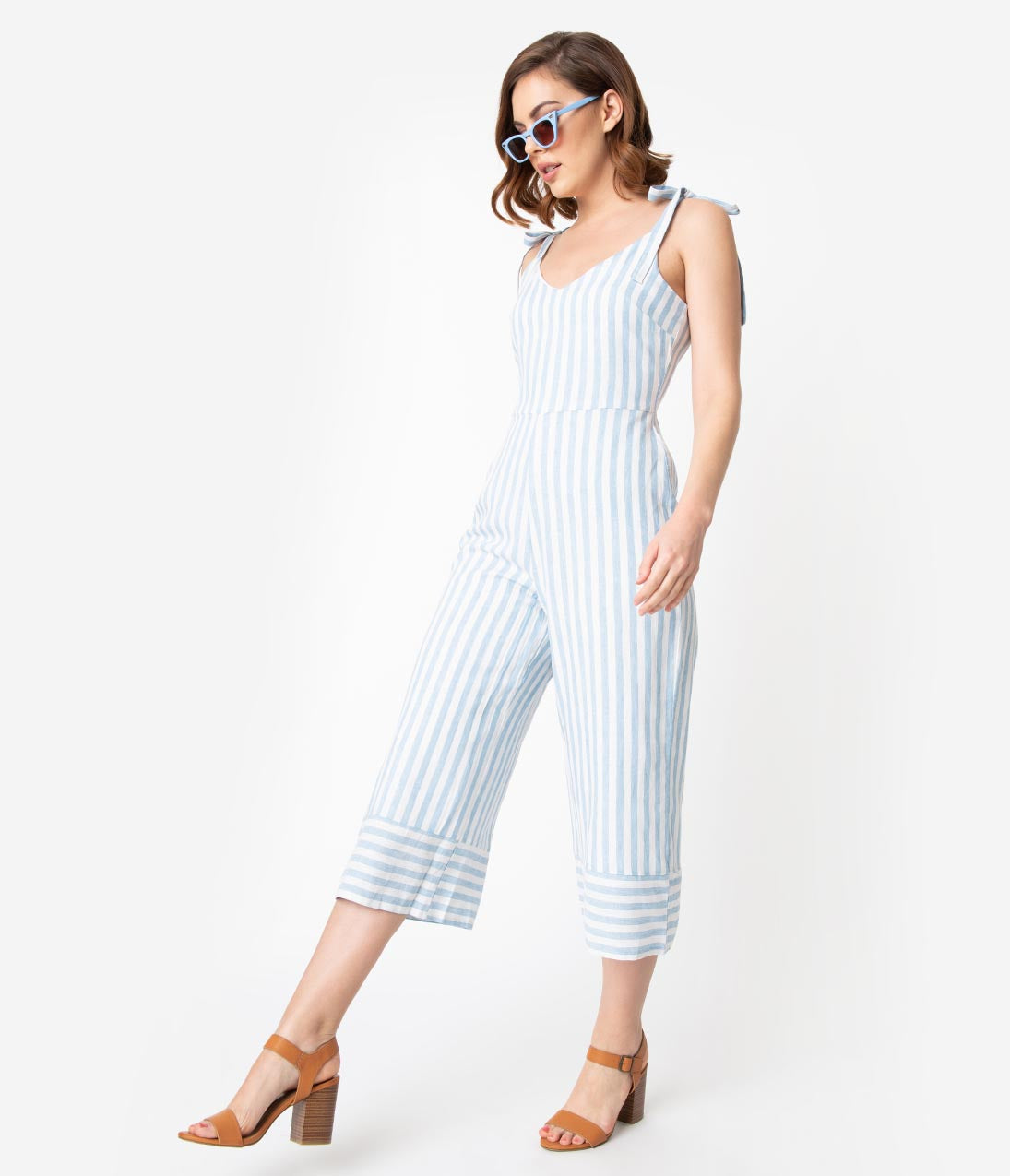 Vintage High Waisted Trousers, Sailor Pants, Jeans Retro Style Light Blue  White Striped Linen Culotte Jumpsuit $68.00 AT vintagedancer.com