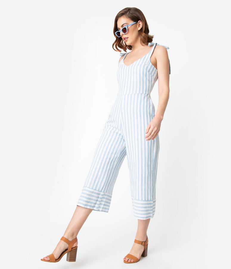 66aba72817f1 Retro Style Light Blue   White Striped Linen Culotte Jumpsuit