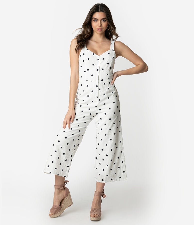 9be83383feaa Retro Style White   Black Polka Dot Cotton Culotte Jumpsuit