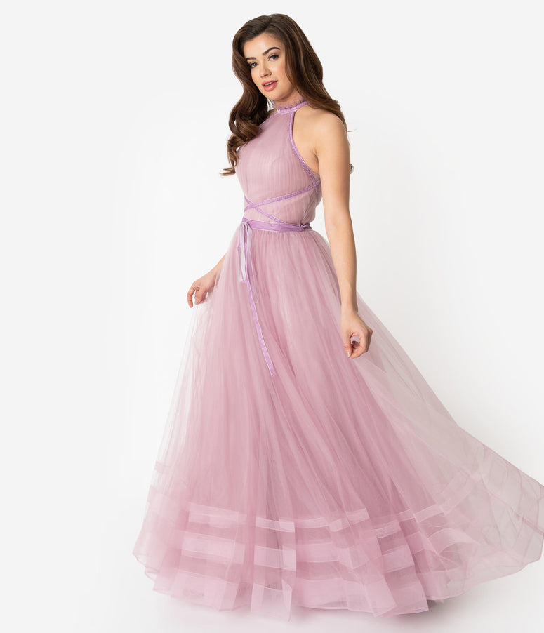 20507bb9121 Mauve Purple Tulle Sleeveless Halter Ball Gown