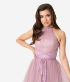 Mauve Purple Tulle Sleeveless Halter Ball Gown