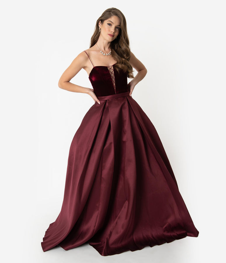 8e459cb37e6 Burgundy Red Velvet Lace Up   Satin Pleated Ball Gown