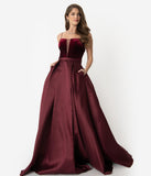 Burgundy Red Velvet Lace Up & Satin Pleated Ball Gown