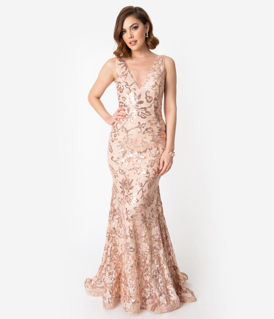Dusty Rose & Gold Sequin Lace Sexy Mermaid Gown