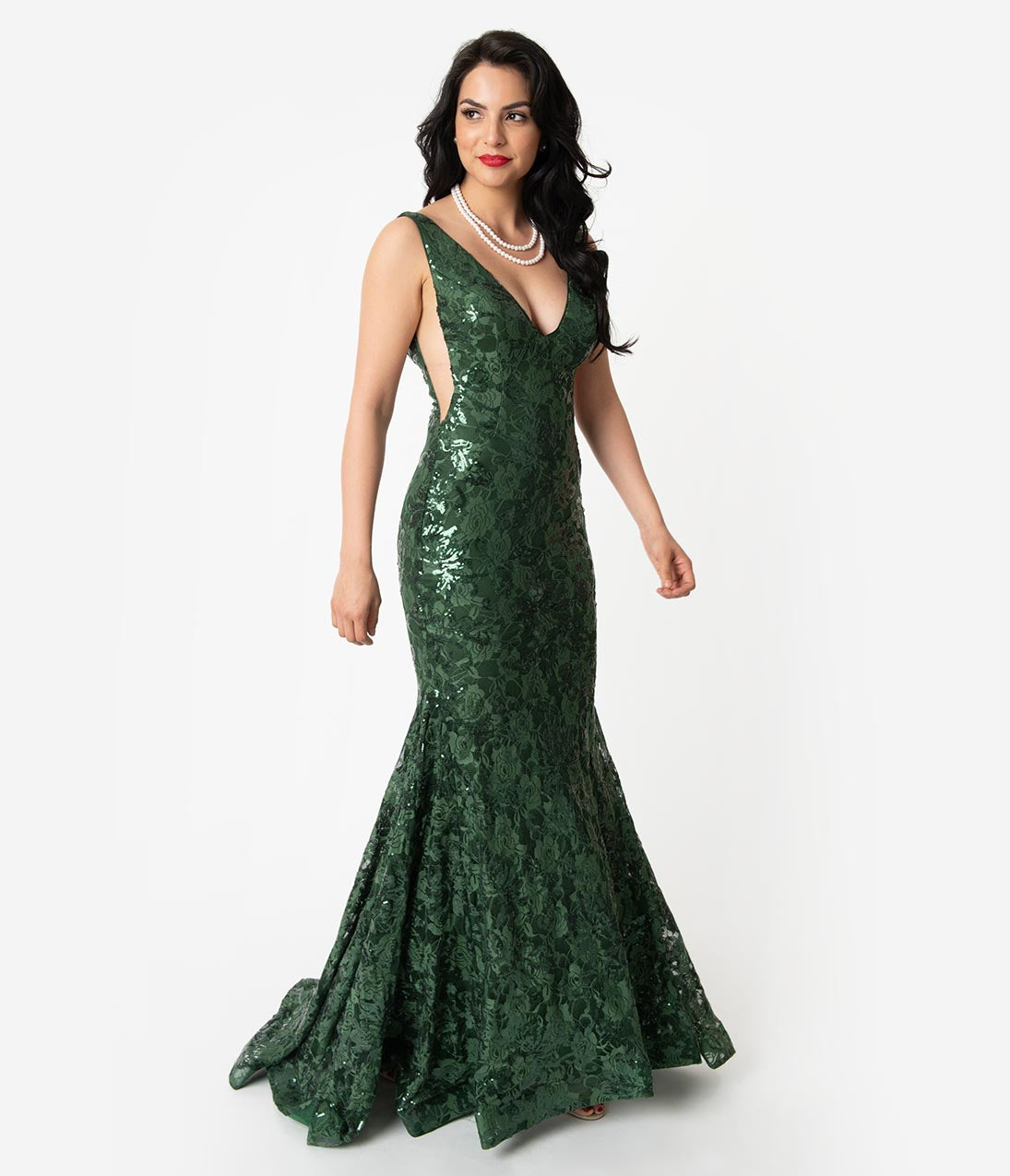 1950s Dresses, 50s Dresses | 1950s Style Dresses Hunter Green Sequin Lace Sexy Mermaid Gown $220.00 AT vintagedancer.com