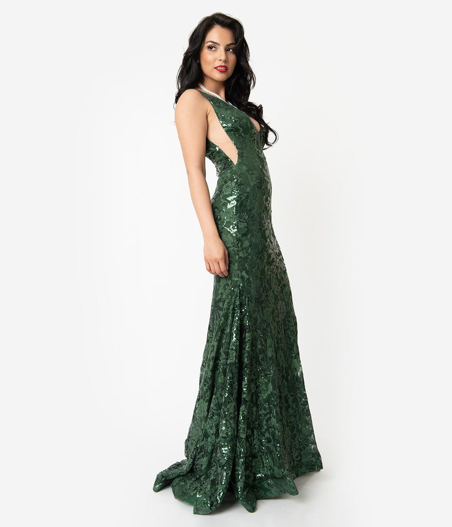 Hunter Green Sequin Lace Sexy Mermaid Gown