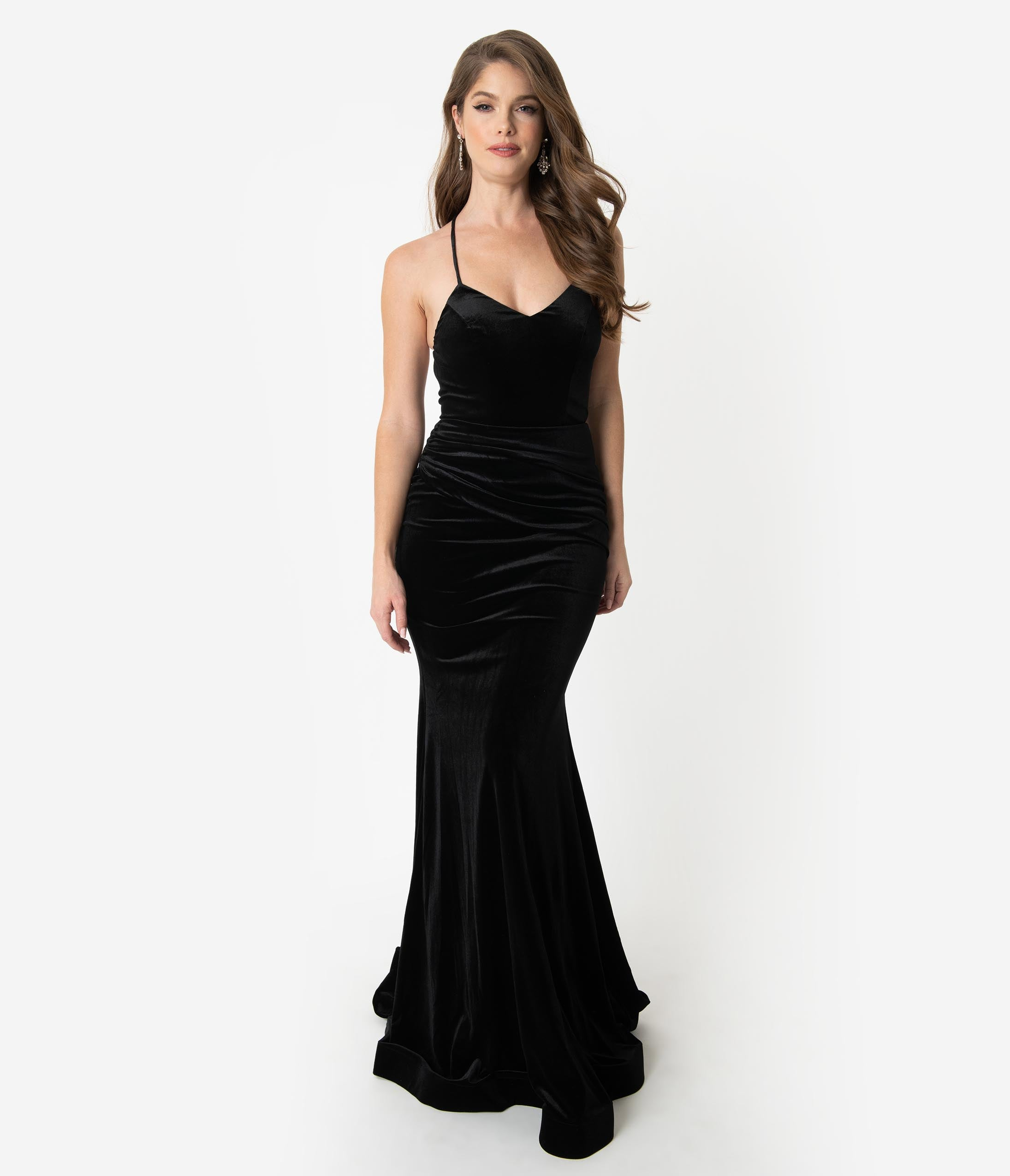 Pin Up Dresses | Pinup Clothing & Fashion Black Velvet Sexy Fitted Long Dress $130.00 AT vintagedancer.com