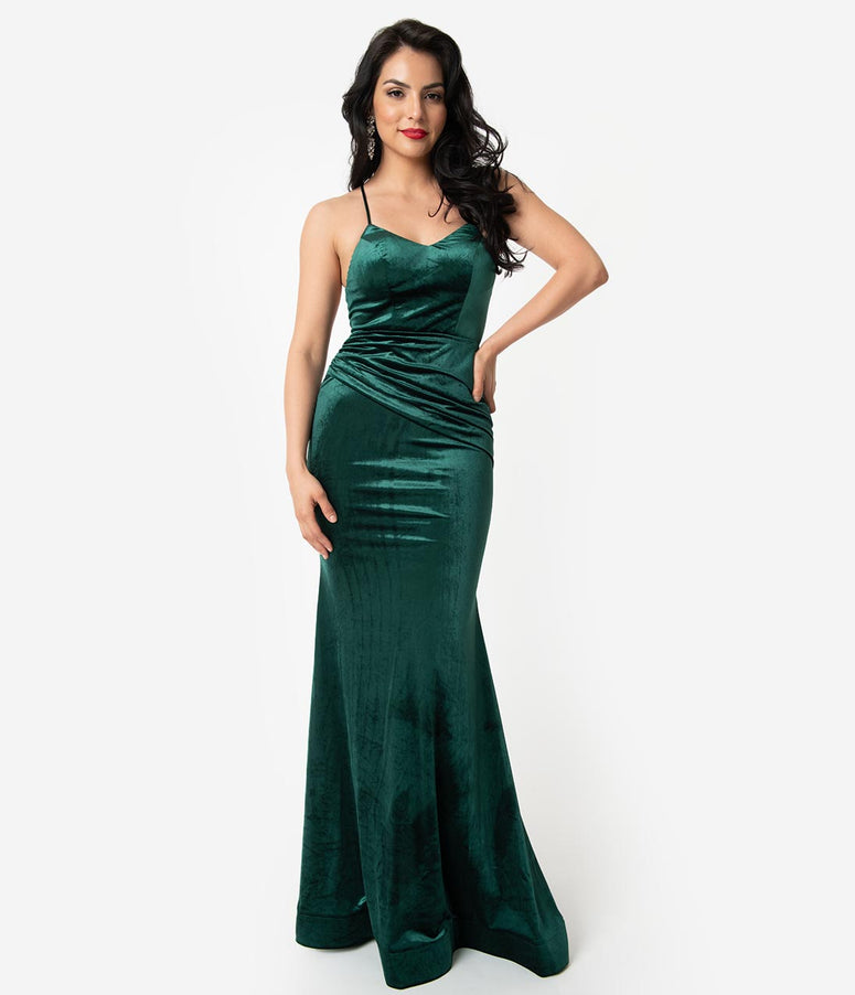 c09359e81a4 Hunter Green Velvet Sexy Fitted Long Dress