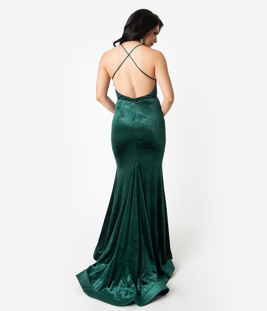 Hunter Green Velvet Sexy Fitted Long Dress