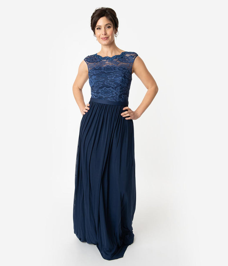Navy Chiffon Modest Lace Sleeveless Long Dress