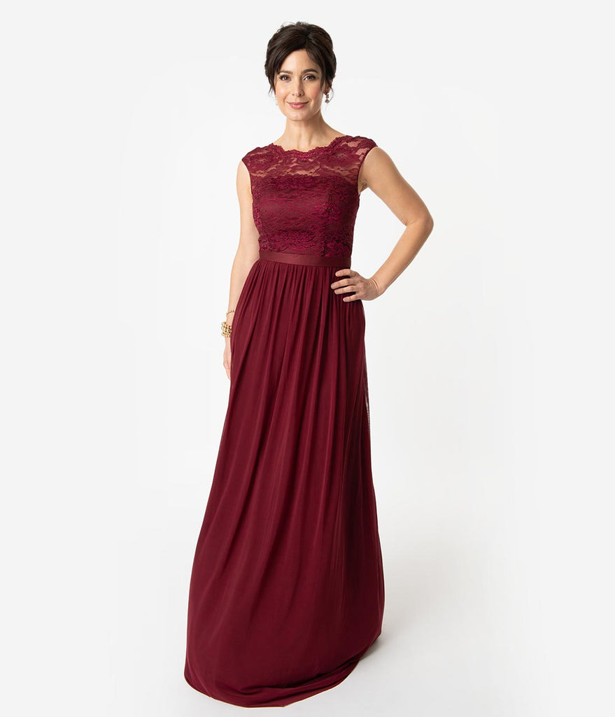 Burgundy Red Chiffon Modest Lace Sleeveless Long Dress