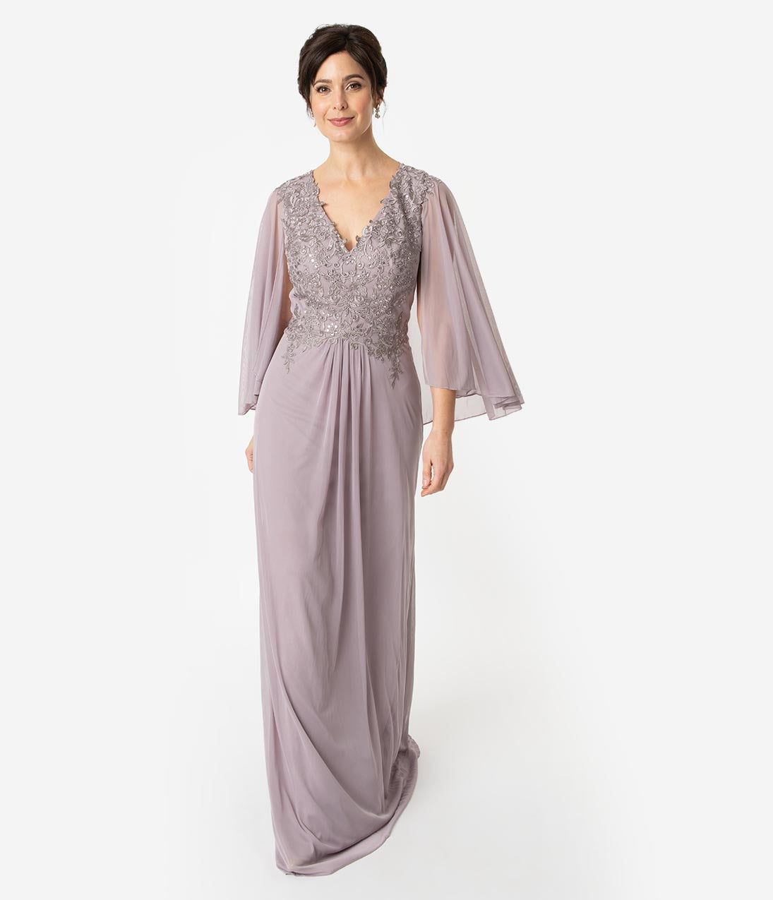 1930s Dresses | 30s Art Deco Dress Mauve Embellished Chiffon Modest Cape Long Dress $172.00 AT vintagedancer.com