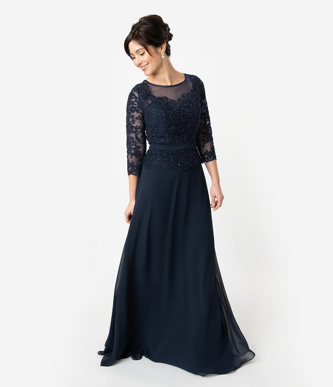 1940s Dresses | 40s Dress, Swing Dress Navy Blue Embellished Chiffon Sleeved Peplum Modest Long Dress $172.00 AT vintagedancer.com
