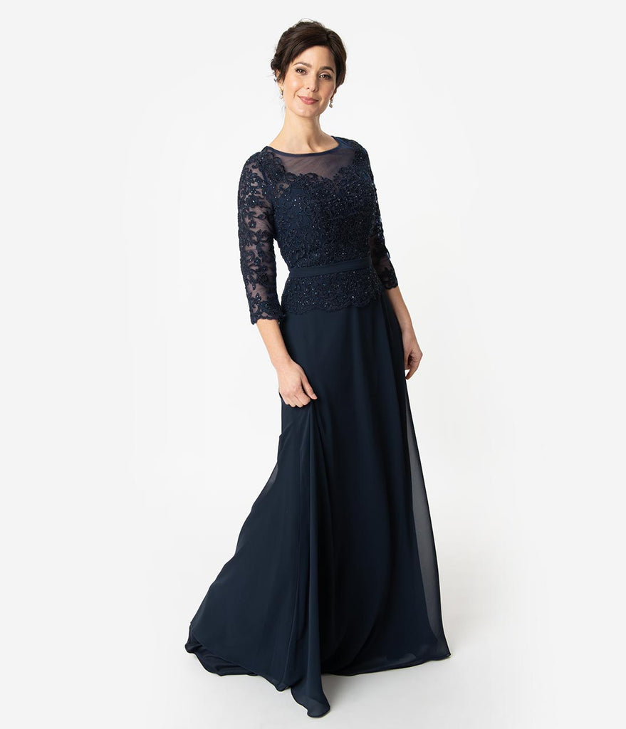 Navy Blue Embellished Chiffon Sleeved Peplum Modest Long Dress