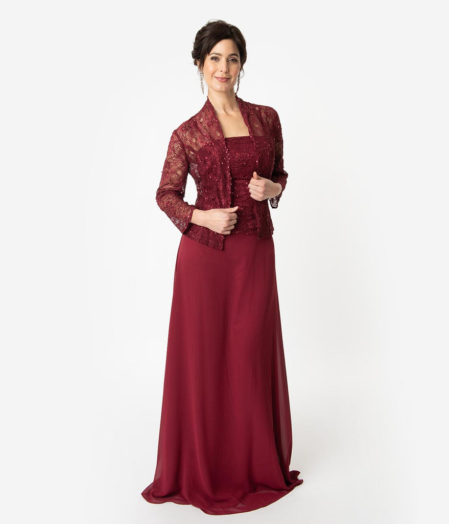 b223678c65561 Burgundy Red Lace Chiffon Sleeveless Embellished Long Dress   Jacket S – Unique  Vintage