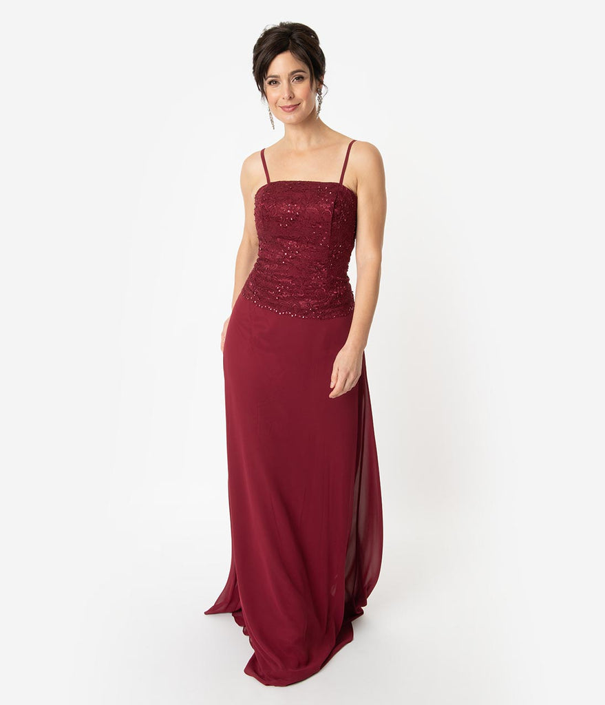 f18614327a687 ... Burgundy Red Lace Chiffon Sleeveless Embellished Long Dress   Jacket ...