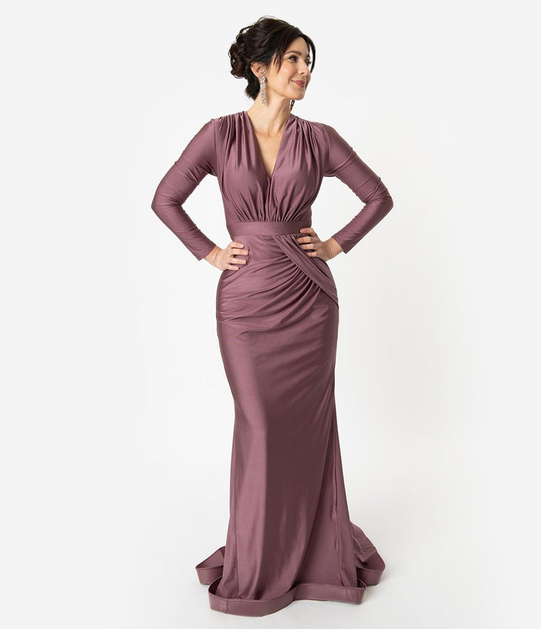 Mauve Ruched Long Sleeve Modest Sheath Gown