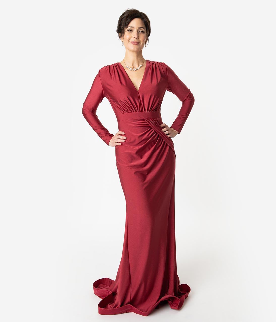 Vintage Evening Dresses and Formal Evening Gowns Burgundy Red Ruched Long Sleeve Modest Sheath Gown $118.00 AT vintagedancer.com