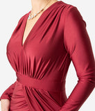 Burgundy Red Ruched Long Sleeve Modest Sheath Gown