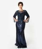 Navy Blue Sequin Open Bell Sleeved Fitted Gown
