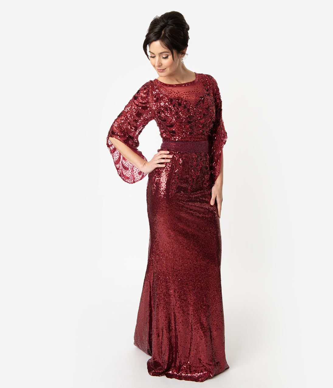 Vintage Christmas Gift Ideas for Women Burgundy Red Sequin Open Bell Sleeved Fitted Gown $240.00 AT vintagedancer.com