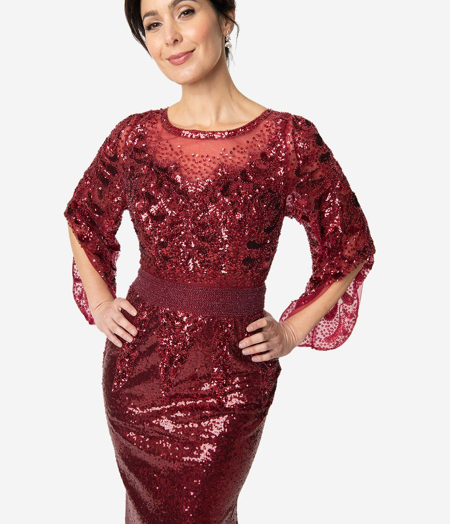 Burgundy Red Sequin Open Bell Sleeved Fitted Gown